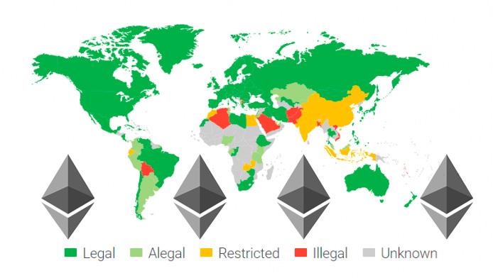 Países donde el Ethereum es legal o está prohibido