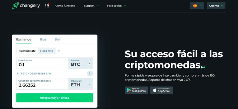 Changelly es uno de los 10 mejores exchanges para trading de criptomonedas