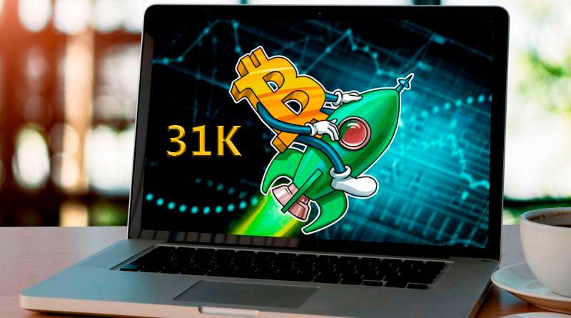 El precio del Bitcoin pasó los 31000 dólares por primera vez